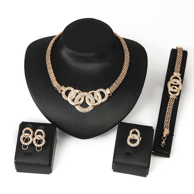 Fashion Love Gold Colour Jewelry Sets for Woman Zircon Necklace Earrings Ring Bracelet Valentine Engagement Party Jewelery