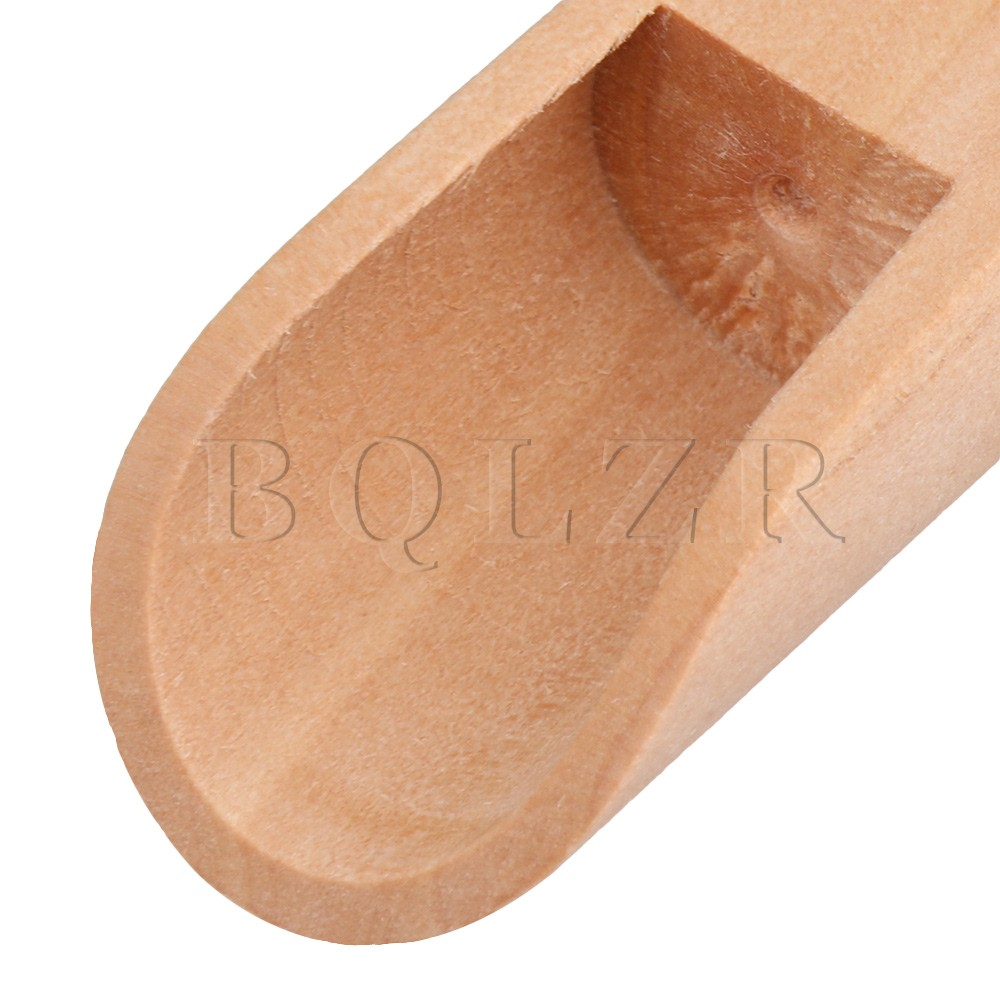 10 x Unpainted Natural Wood Bath Salt Wooden Sugar Scoops Spoons 75x25mm