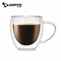 Soffe Высококачественная стеклянная кофейная кружка с ручкой 250 мл 350 мл двухслойная стеклянная термостойкая креативная чашка для молока и ча...