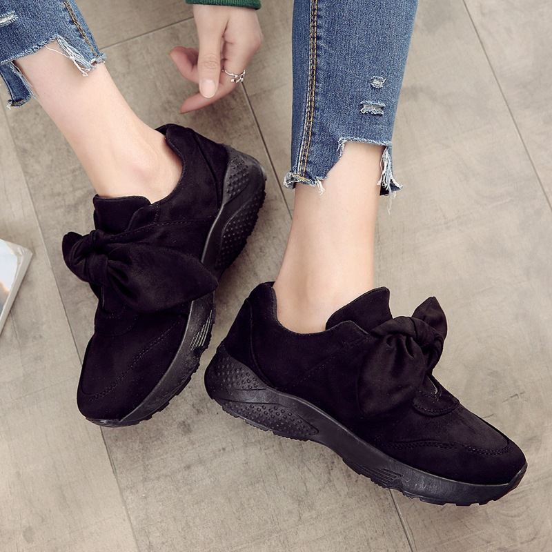 Women Flock Vulcanize Shoes Summer Fashion Butterfly-Knot Sneakers Slip-On Tenis Feminino Solid Casual Flat Added Shoes QBT970