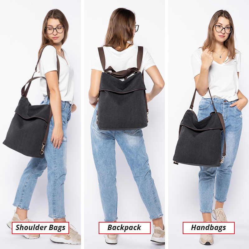 Женский повседневный рюкзак LOVEVOOK, большые школьные портфели больщой емкости, многофункциональный рюкзак из парусины, сумка через плечо для путешествии, наплечная сумка с регулируемым плечевым ремнем