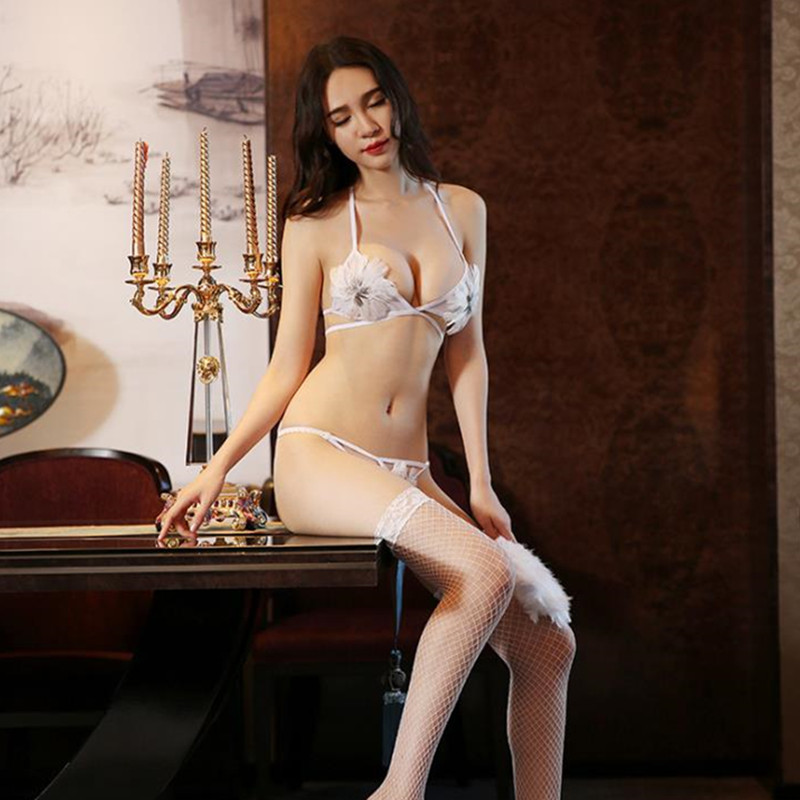 New Sexy Lace Push Up Lingerie Open Cup Bra Sets Female -8773