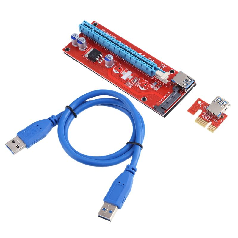 PCI Express PCI-E Riser Card 1x to 16x Extender Riser Adapter Mainboard USB 3.0 Cable Power Cable for Bitcoin Mining BTC Miner cтяжка пластиковая gembird nytfr 150x3 6 150мм черный 100шт