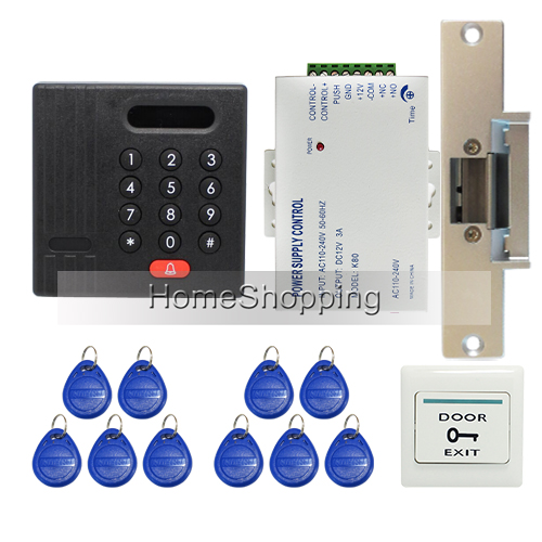 Brand New Waterproof RFID Card Reader Keypad Door Access Control System + Electric Strike Door Lock In Stock Free Shipping