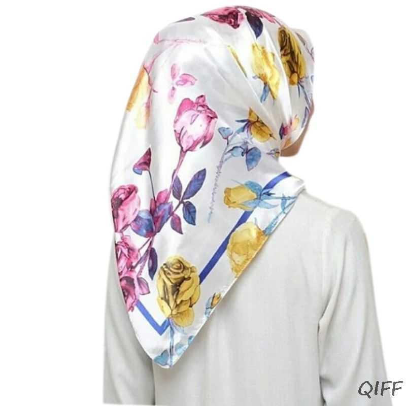22 Warna Malaysia Muslim Jilbab Wanita Sutra Imitasi Berwarna Geometris Poliester Bunga Selendang Syal Islam Kepala Jilbab 90 Cm