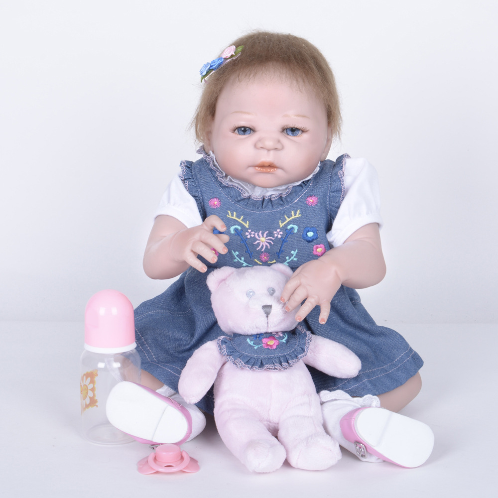 22 Inch Soft Full Silicone Reborn Baby Doll Lifelike Newborn Girl Dolls for Children Kids Toy Birthday Xmas New Year Gift 22 inch 55 cm silicone baby reborn dolls lifelike doll newborn toy girl gift for children birthday xmas
