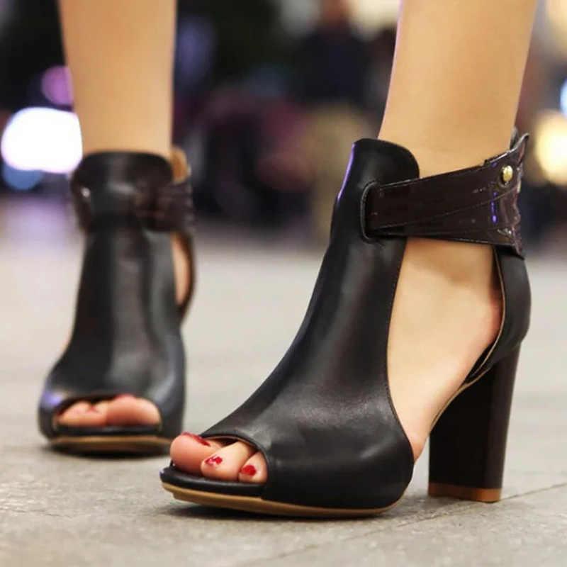 טו פיפ נשים משאבות אופנה נשים סנדלי נעלי חתונה חדשות כיכר גבוהה העקב הבוהן מחודדת גבירותיי סנדלים בתוספת גודל נשים נעליים