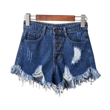 Fashion Womens Sexy High Waist Tassel Ripped Jeans Summer Large Size Denim Shorts Drop Shipping