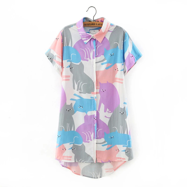 Summer Women Short Sleeve Blouses Plus Size Shirts Women Long Blouse Elegant Floral Printed Blusa Tops Hot Sale LBBE-A4