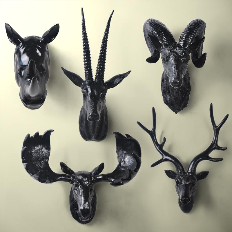 2016 Décoration de La Maison Accessoriesthree Deer Head Mur Murale Animaux D'ameublement de Style Européen De L'ancienne Ornement