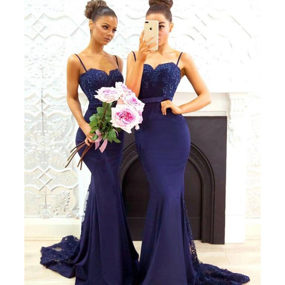 2018 Navy Blue Mermaid   Bridesmaid     Dresses   Long with Appliques Straps Wedding Party   Dress   Elastic Satin   Bridesmaid     Dress