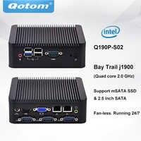 QOTOM Mini PC sans ventilateur Q190P avec processeur j1900 exécutant 24/7 Mini PC industriel Quad Core 2.42 GHz