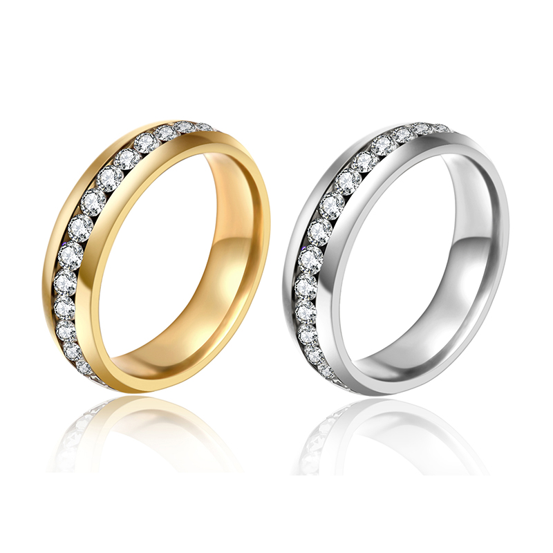 Stainless Steel Rings For Men And Women Gold Plated Wedding Bands Engagement Anniversary Lovers