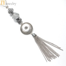 10pcs crystal classic steel tassel pendant Necklace 18mm steel snap jewellery OEM, ODM button watches ladies one route