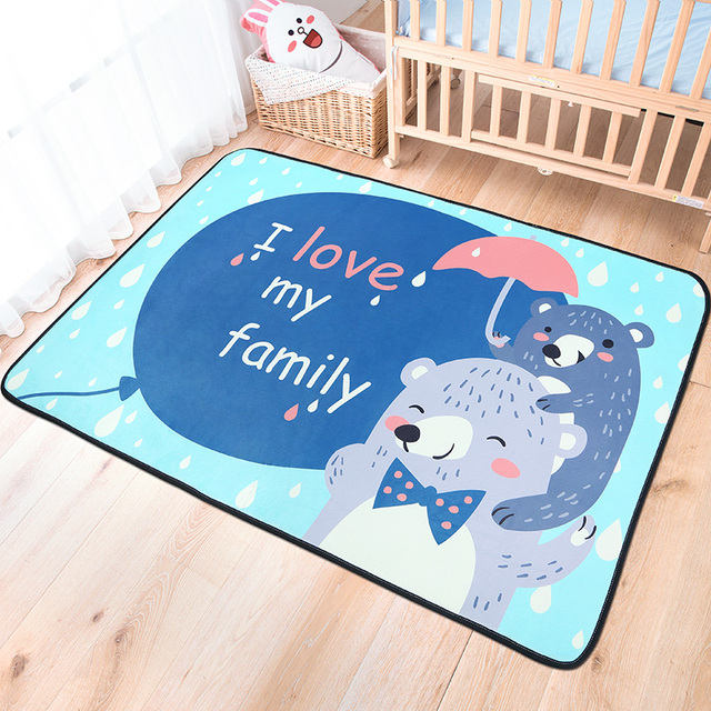 Animal Rugs For Living Room Tips Decorating Cartoon Fold Carpets Soft Cute Bedroom Children Study Floor Mat Kids Play Crawling Tatami Carpet