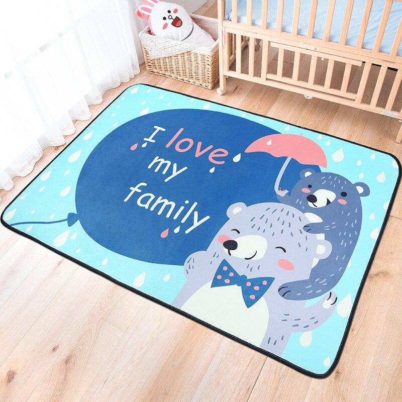 Cartoon Fold Carpets For Living Room Soft Cute Animal Rugs For Bedroom Children Study Floor Mat Kids Play Crawling Tatami Carpet