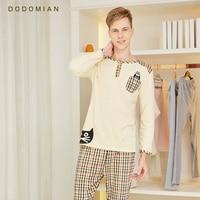 DO DO MIAN Loungewear Soft Bathrope Set Plaid Sexy Sleepwear For Men 100 Cotton Gym Yoga