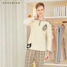6d18d0ebb 2 peça Homens Loungewear Conjunto Roupão Xadrez Sleepwear Sexy Para Os  Homens 100% Algodão Macio Inferior Roupas Conjunto de Pij.