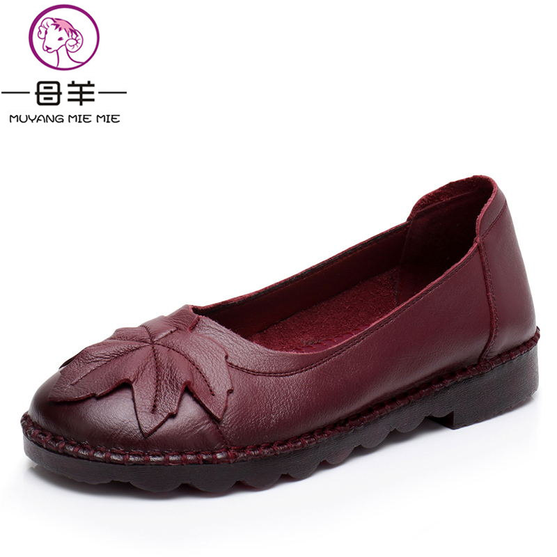 MUYANG MIE MIE Women Shoes Woman Genuine Leather Flat Shoes Fashion Leather Loafers Female Casual Shoes Women Flats muyang mie mie 2017 new fashion women flats rhinestone genuine leather flat shoes woman casual shoes soft round toe women shoes