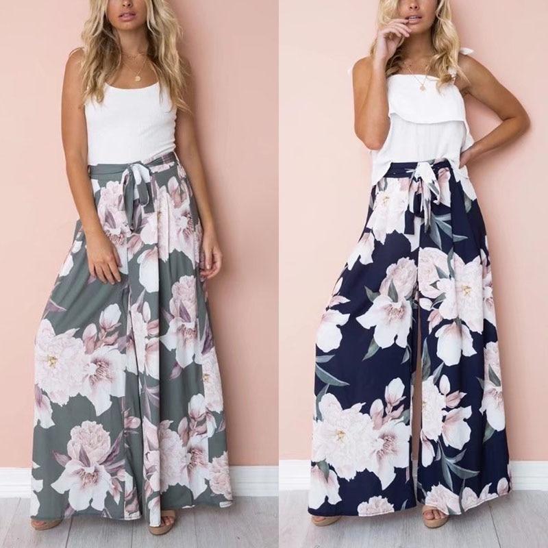 Summer Women Sexy   Wide     Leg     Pants   High Waist Belt Floral Printed Girl Casual Trousers BMF88