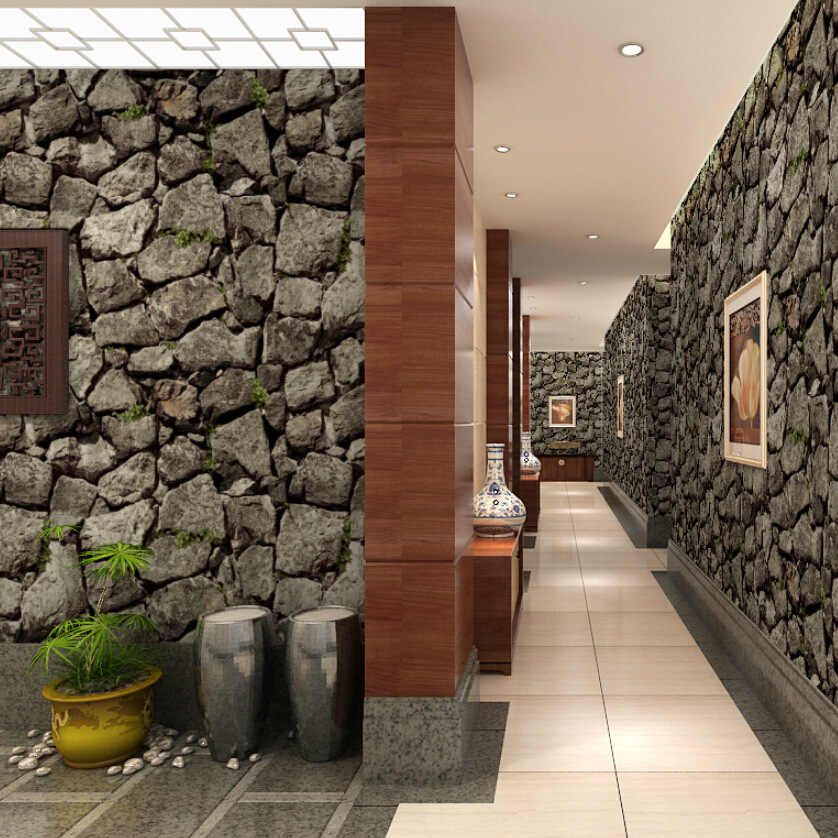 1M Brick Stone Wallpaper Waterproof Removable Vinyl Damask Wall Home Decor Roll
