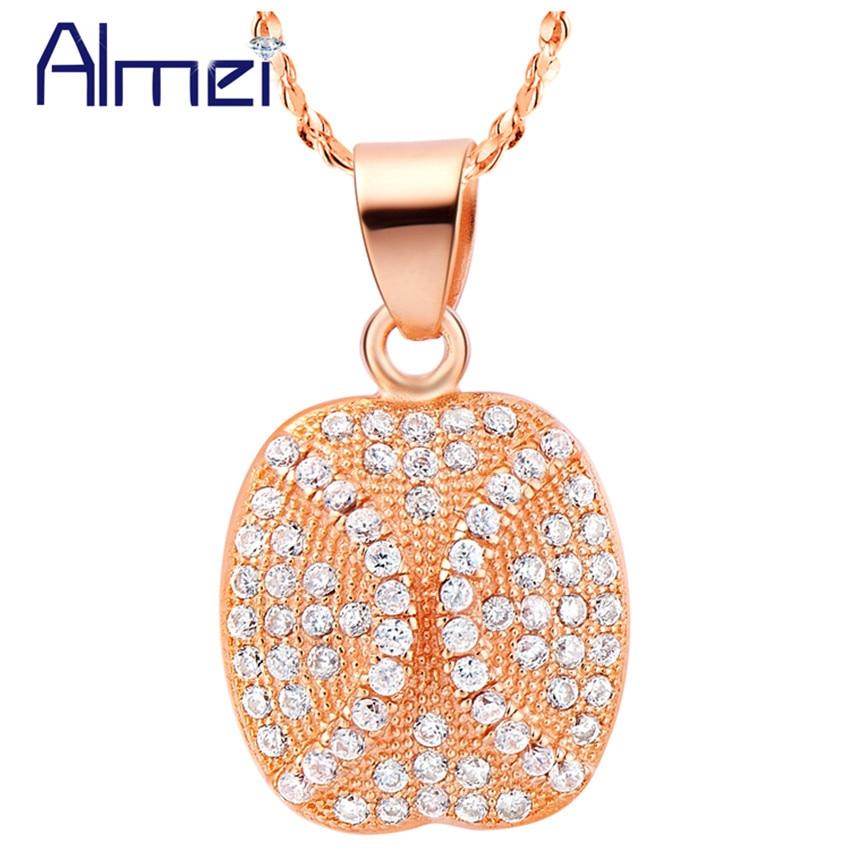 21e190e01976 Almei collar mujeres oro color Collares collares señora 2017 mujer plata CZ  ZIRCON cristal Colgantes regalos para marzo 8 n516