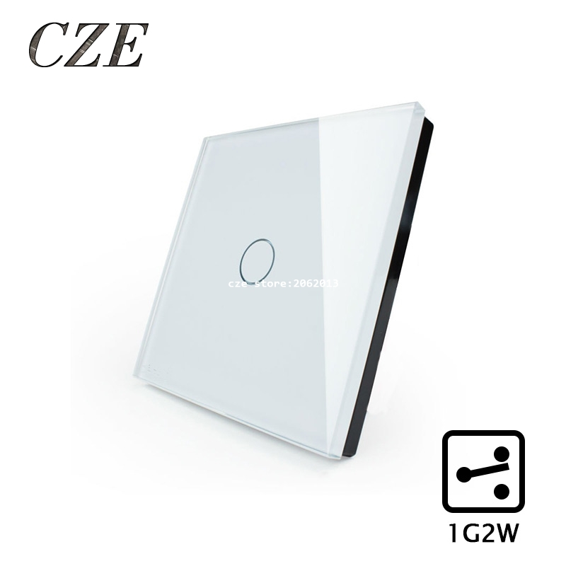EU 1 Gang 2 Way  Wall Light Controler Smart Home Automation Touch Switch Switch Waterproof and Fireproof smart home us au wall touch switch white crystal glass panel 1 gang 1 way power light wall touch switch used for led waterproof