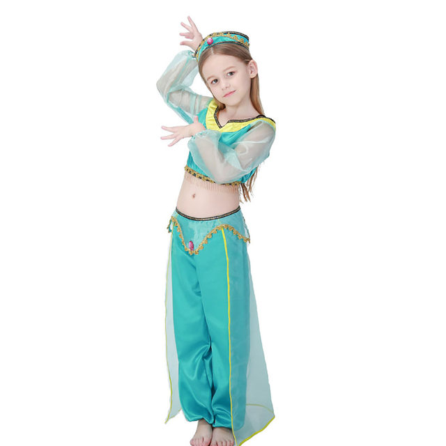 Kids Jasmine Costume Little Girl Arabian Princess Dress Up Outfit Belly Dancer Costume Halloween Party Fancy Dress for Children  sc 1 st  Aliexpress & Online Shop Kids Jasmine Costume Little Girl Arabian Princess Dress ...