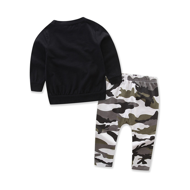 toddler boys clothing set Letter long sleeve T shirt Tops+Camouflage Pants Autumn Winter Children Kids Outfits Clothes Sets 3