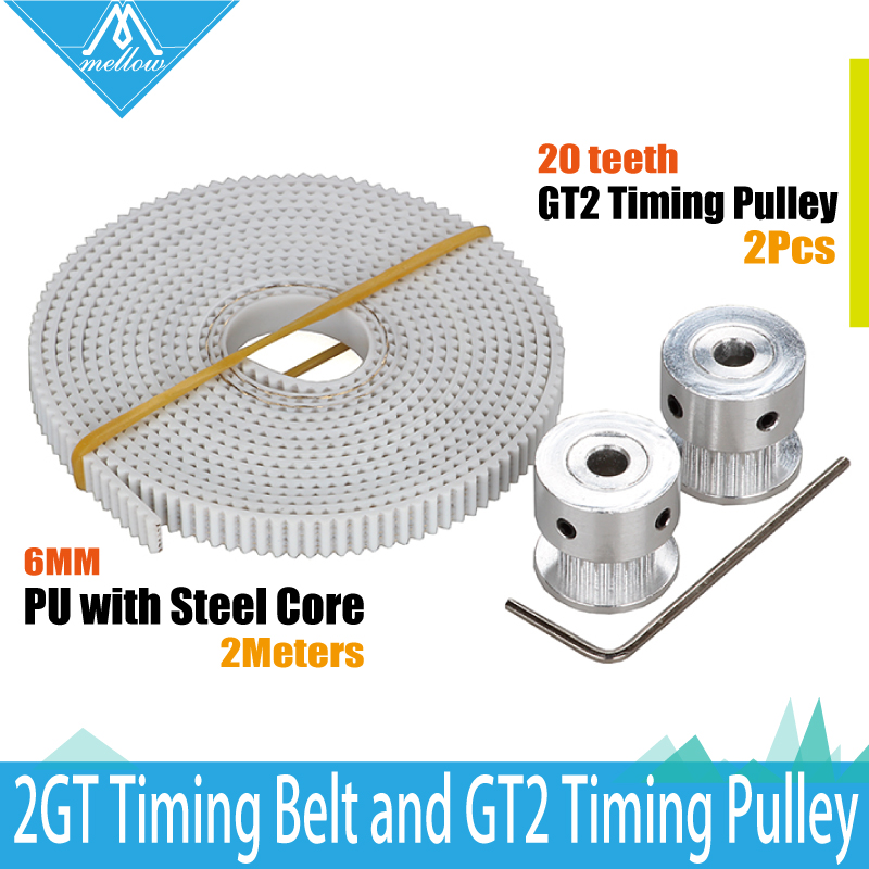 20 Teeth 2GT-6MM wheel Timing Pulley Bore 5mm and 2M PU with steel core GT2 width 6MM synchronous timing belt kit for 3D printer