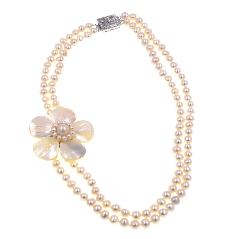 2018 New Arrival Fashion Jewelry Classic Mop Jewelry Natural White Sea Shell Flowers Choker Pearl Beaded Necklace For Womens pearl beaded choker neck sweater