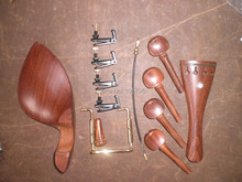 4 Sets Rosewood Violin parts 4/4 with Fine tuners and tail gut & chin rest clamp