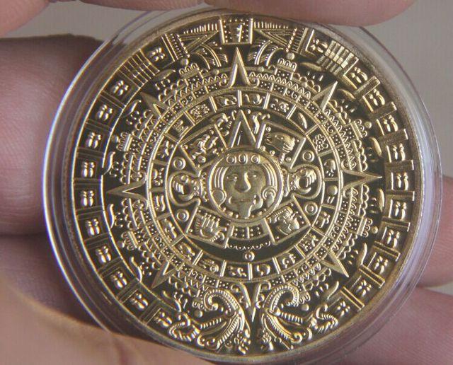 אמריקאי זהב מאיה מקסיקו האצטקית מדליית הנצחה מטבעות מטבע מזכרת הלאומית יפה מתנה הטובה ביותר