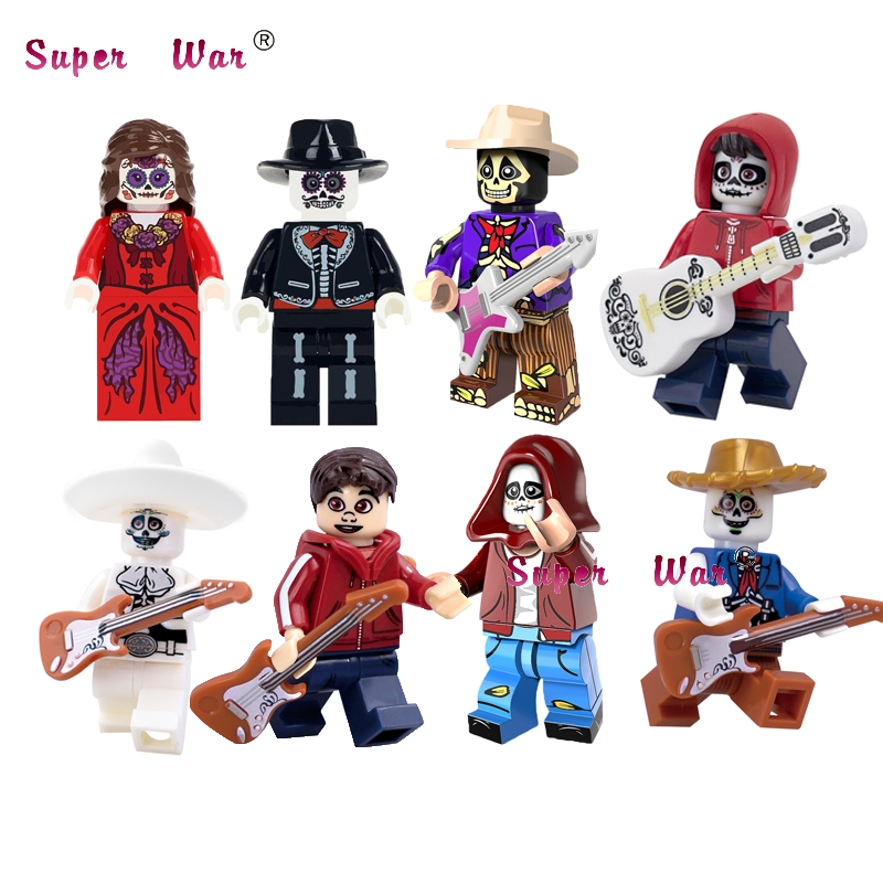 Toys & Hobbies Single Super Hero Miguel Hector Rivera Movie Coco Figure Day Of The Dead Holiday Skeleton Skull Building Block Toys For Children Model Building