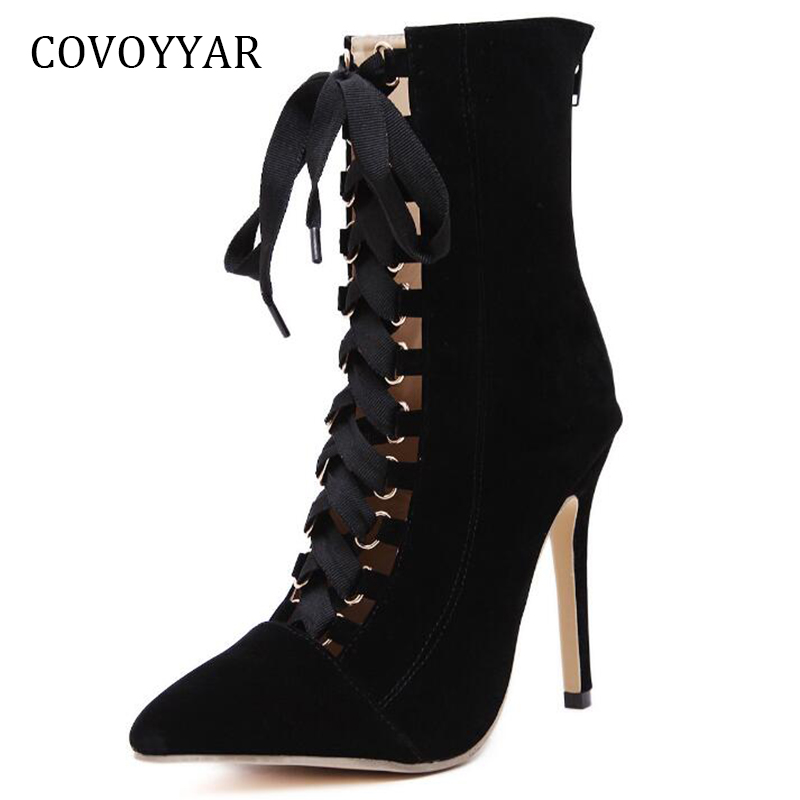 COVOYYAR 2019 <font><b>Sexy</b></font> Pointed Toe <font><b>Extremely</b></font> <font><b>High</b></font> <font><b>Heeled</b></font> Women <font><b>Boots</b></font> Spring Summer Lace Up Ankle <font><b>Boots</b></font> Back Zip Women Shoes WBS374 image