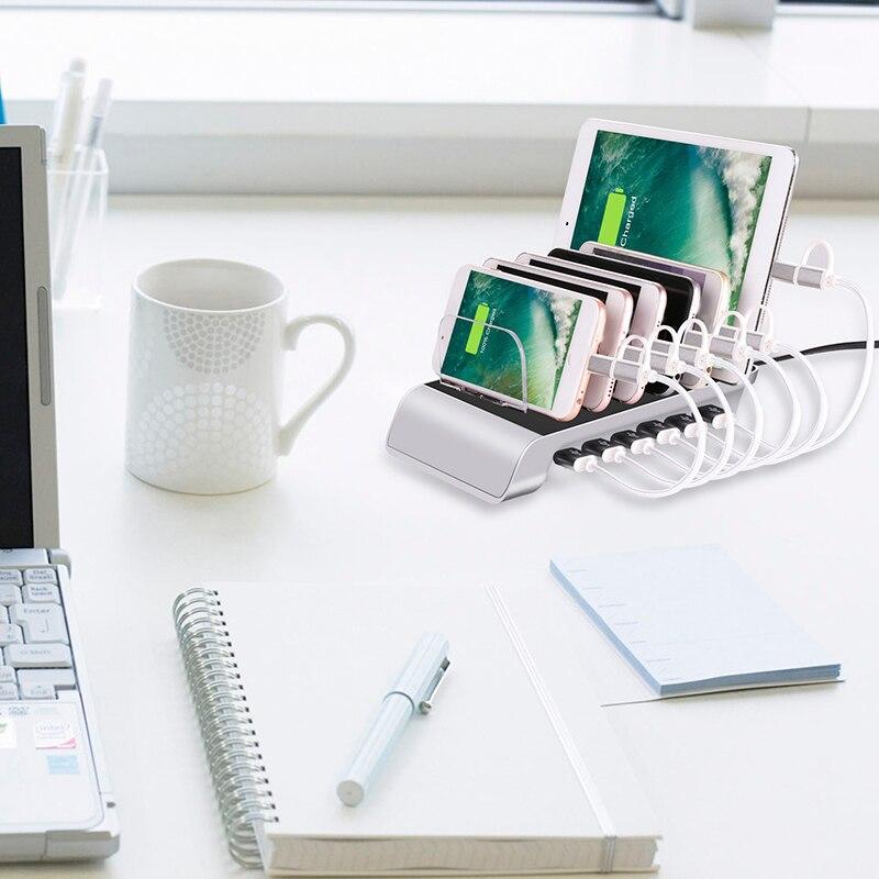Быстрая многопортовая зарядная док-станция, 6 портов USB Настольная зарядная станция, адаптер питания для всех телефонов, планшетов, часов и т. д