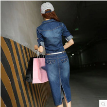 2014 famous brand women autumn denim lapel causal dress X-long section jeans fashion dress for lady casacos femininos S607