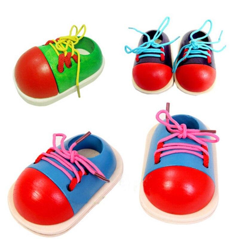 Случайный Детские деревянные игрушки раннего развивающие игрушки раннее образование малыш шнуровкой обувь Монтессори учебных пособий