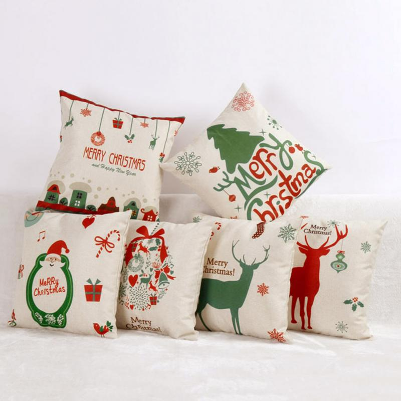 Hyha Christmas Pillow Covers Present Deer Cushion Cover Merry Decorations For Home Cojines In From