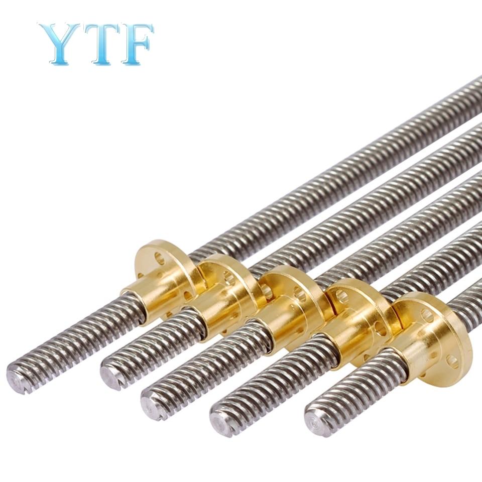 3D Printer CNC THSL-500-8D Length 100/150/200/250/300/400/500mm T-type Stepper Motor Trapezoidal Lead Screw 8MM Thread T8