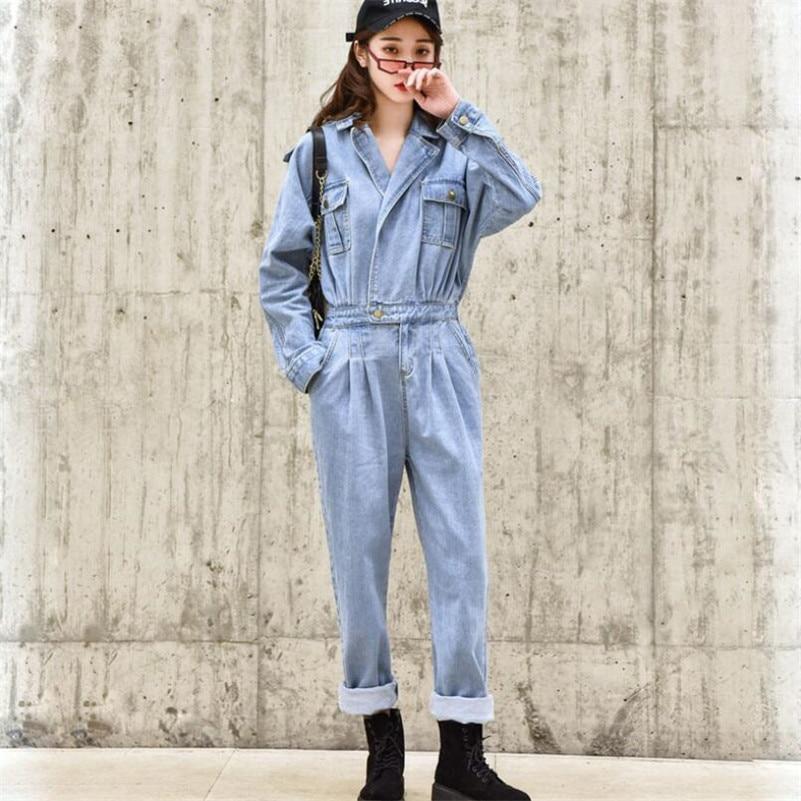 b74dedde999 Fashion BF Streetwear Women Denim jumpsuit Pants 2019 Autumn Long Sleeve High  Waist Retro Jeans Overalls
