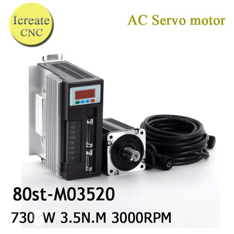 Free Shipping SERVO MOTOR kits 1set/Servo AC Motor 80ST-M03520 Motor Driver 3.5N.M 730W CNC Servo Motor CNC Kit cnc ac servo motor
