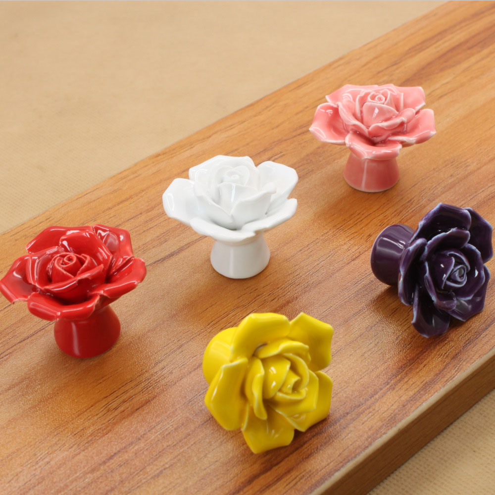 MEGAIRON Vintage Beautiful Rose Ceramics Drawer Knob Cabinet Cupboard Dresser kitchen Door Pull Handle Decoration 8pcs vintage dot round ceramics drawer knob door cabinet kitchen pull handle furniture hardware handle decoration j2y