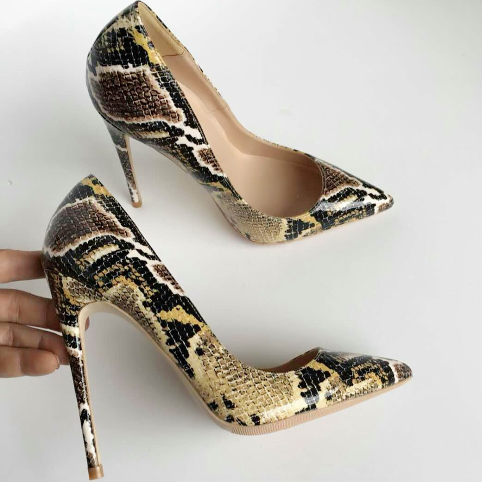 Keshangjia Snake Printed Sexy stilettos high heels Ladies Shoes 2018 Pointed Toe Party Prom Women Pumps