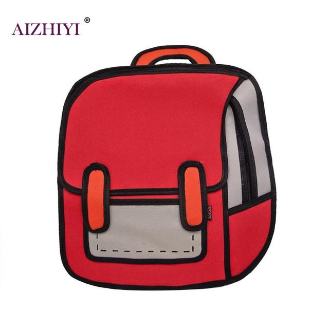 7445f71a6cba Fashion Creative Women 2D Drawing Backpack 3D Jump Style Cartoon School Bag  High Qaulity Girls Shoulder