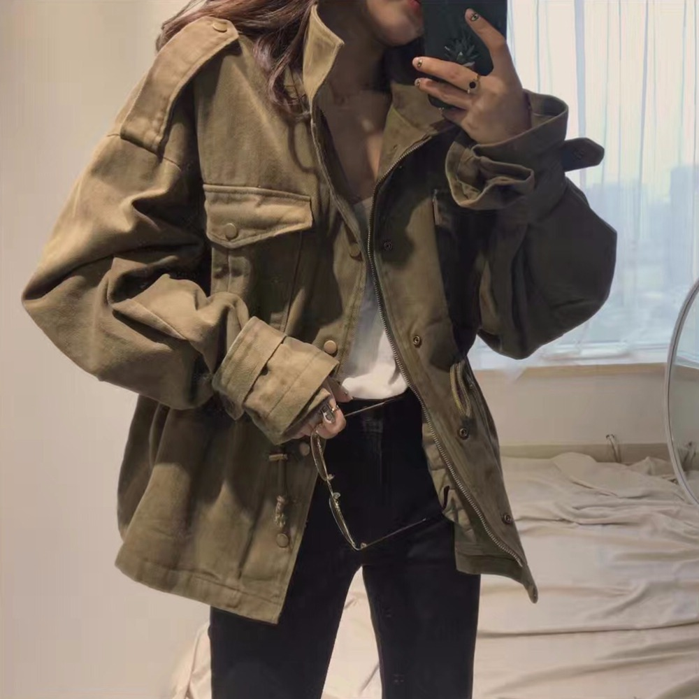 Army Green Windbreaker women 2018 Autumn New Large Size Women Fashion Safari Style   Trench   Coat