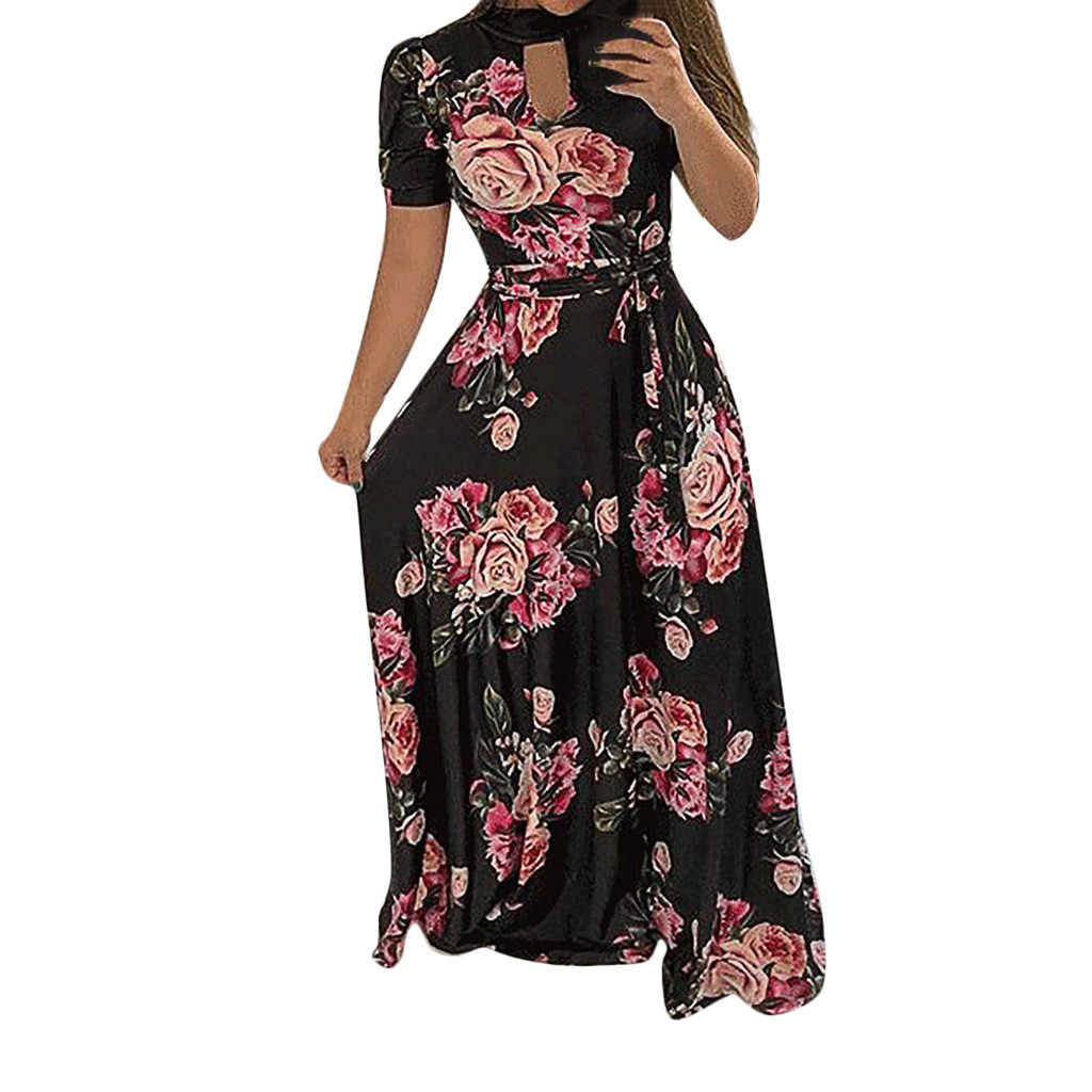 Plus Size Summer Party Dress Women Vintage Floral Print Long Dresses Woman Short Sleeve Party Night Dress Women Clothes 2019