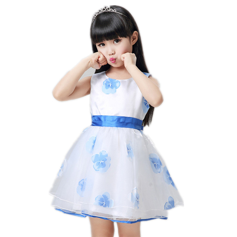 Floral Cute Baby Girls Dresses Sleeveless Summer Children Girl Dress Evening Dress Kids Clothing 2017 Party Gowns Size 3 12 2017 sweet new girl kids fashion children korean style clothing sleeveless summer dress baby girls striped navy vest dresses