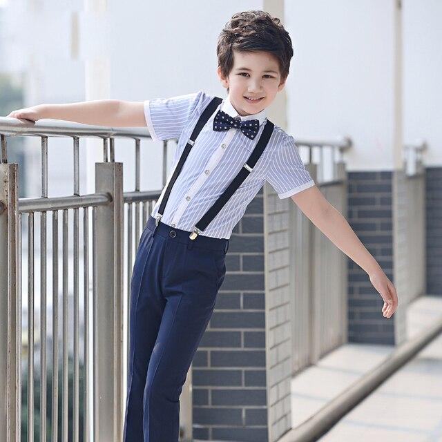 4 pcs/ensemble de mode Enfants de vêtements ensembles rayé chemises formelles shorts noir costumes jarretelles pantalon étudiant vêtements pour garçons 5
