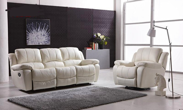Genuine Leather Sofa Set With Recliner For Living Room